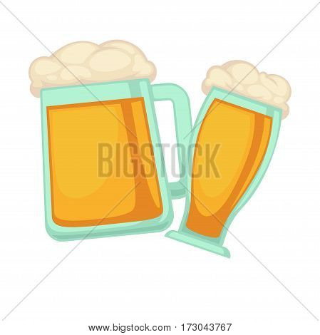 Man and woman glasses of beer with foam isolated on white background. Schooner tall beer glass for ladies and wide for gentlemens vector illustration in flat style. Light refreshing alcoholic drink