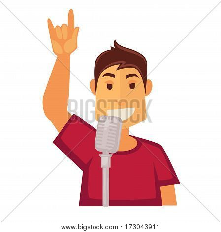 Man singing in microphone isolated on white background. Sound transmitter media technology device for singing, broadcasting and entertainment. Karaoke singer vector illustration in flat style design