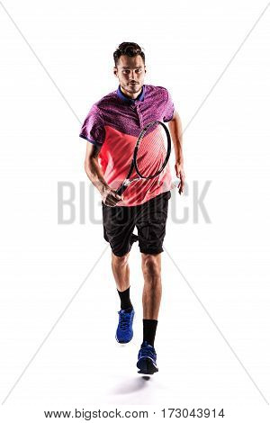 Tennis player running isolated on a white background