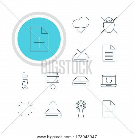 Vector Illustration Of 12 Web Icons. Editable Pack Of Waiting, Hdd Sync, Server And Other Elements.