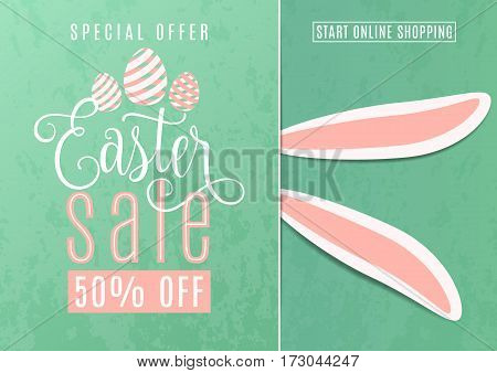 Vector illustration of cute fun easter sale banner with easter bunny ears, striped line eggs, hand drawing lettering text sign on blue background. Special offer for spring holiday