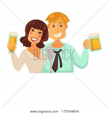 Man and woman with glasses of beer with foam isolated on white. Schooner tall beer glass for ladies and wide for gentlemens vector illustration in flat style. Light refreshing alcoholic drink