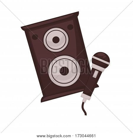 Musical loudspeakers and microphone isolated on white background. Media technology device for listening, broadcasting and entertainment. Professional speech mic vector illustration in flat style