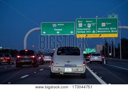 Tampa, Usa - February 7, 2017 - Florida Congested Highways At Night