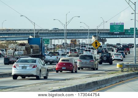 Miami, Usa - February 9, 2017 - Miami Florida Congested Highways