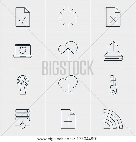 Vector Illustration Of 12 Internet Icons. Editable Pack Of Waiting, Document Adding, Fastener And Other Elements.