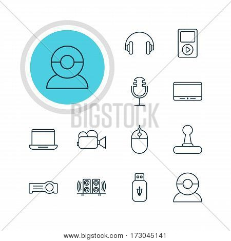 Vector Illustration Of 12 Hardware Icons. Editable Pack Of Video Chat, Headset, Cursor Controller And Other Elements.