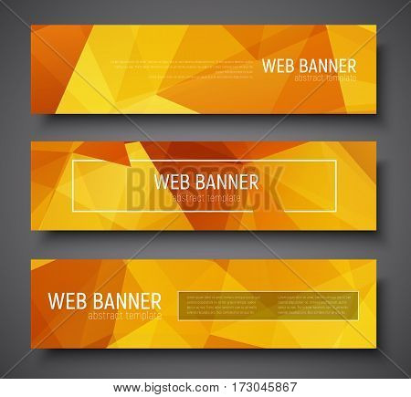 Set Of Web Banner Standard Size. Template With Abstract Gold Polygonal Background