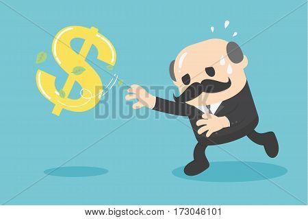 cartoon businessman chasing symbol money style. Vector illustration.