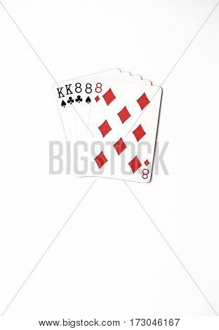 Poker hand rankings symbol set Playing cards in casino: full house on white background, luck abstract, vertical photo with copyspace