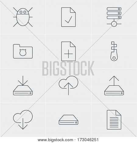 Vector Illustration Of 12 Internet Icons. Editable Pack Of Hdd Sync, Information Load, Server And Other Elements.