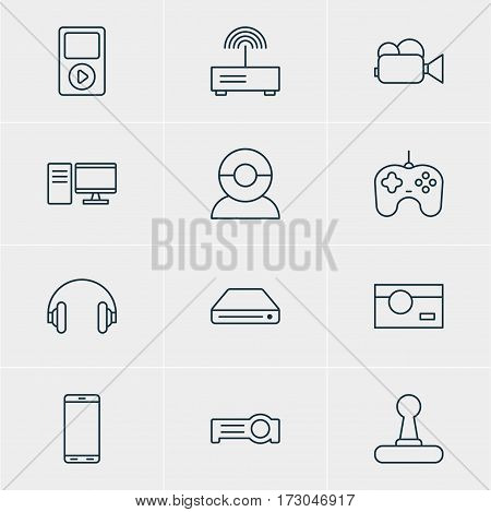 Vector Illustration Of 12 Device Icons. Editable Pack Of Photography, Smartphone, Memory Storage And Other Elements.