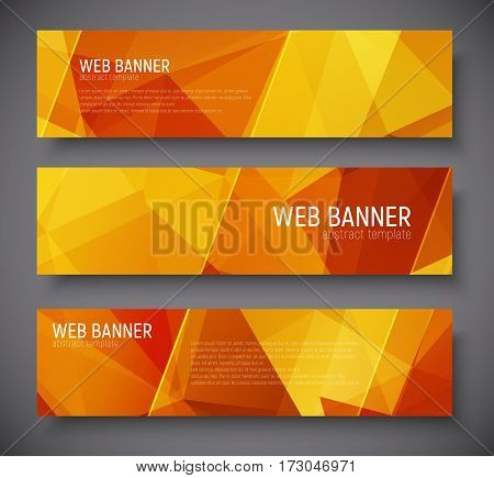 Template Banners With Abstract Polygonal Background Gold