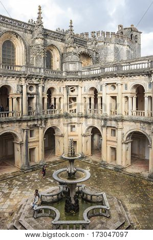 TOMAR PORTUGAL - OCTOBER 17 2015: The Convent of Christ is a former Roman Catholic monastery in Tomar Portugal. The convent was founded by the Order of Poor Knights of the Temple (or Templar Knights) in 1118