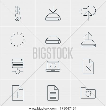 Vector Illustration Of 12 Internet Icons. Editable Pack Of Privacy Doc, Secure Laptop, Cloud Download And Other Elements.