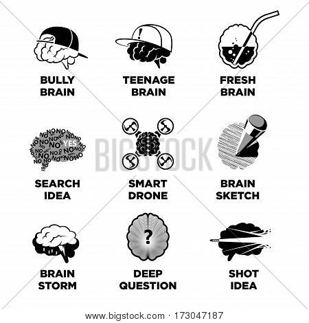 Human brain signs with ideas colorless collection on white. Vector poster of thinking process in brains, icons of bully and teenage brain, searching idea, smart drone, deep question logo designs