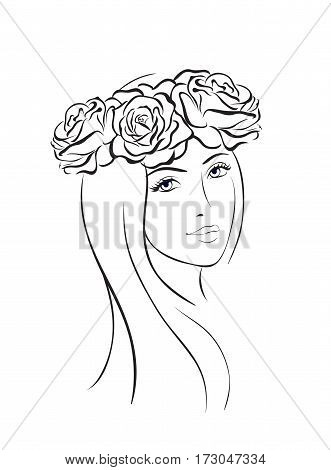 Beauty woman face wit flower wreath. Sketch line style