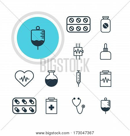 Vector Illustration Of 12 Medicine Icons. Editable Pack Of Medicine, Pulse, Treatment And Other Elements.