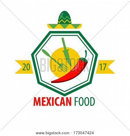 Mexican food logo design with kitchen cutlery and red chili pepper isolated on white background. Fork and knife near chili in heptagon frame with sombrero hat on top vector illustration in flat style