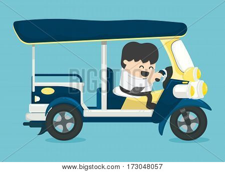 Businessman driving three-wheeler Tuk Tuk taxi thailand