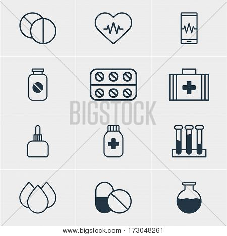 Vector Illustration Of 12 Health Icons. Editable Pack Of Antibiotic, Medical Bag, Experiment Flask And Other Elements.