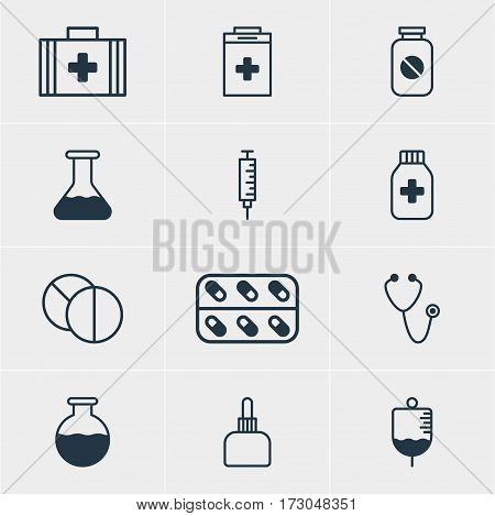 Vector Illustration Of 12 Health Icons. Editable Pack Of Aspirin, Medical Bag, Pulse And Other Elements.