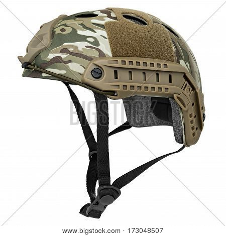 Camouflage, green, khaki military helmet, isolated white background