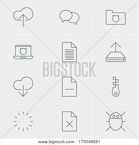 Vector Illustration Of 12 Network Icons. Editable Pack Of Fastener, Privacy Doc, Data Upload And Other Elements.