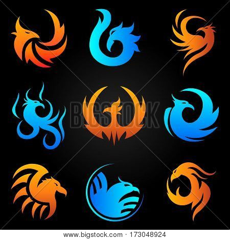 Phoenix logo templates set. Mythic firebird symbol in flame and fire art icons for cororate business design