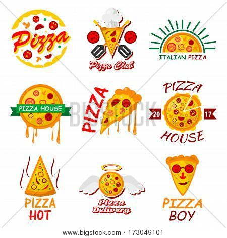Pizza logo templates for italian pizzeria menu or delivery. Vector set of hot margherita, napoletana or capricciosa and marinara slice with mozzarella cheese topping