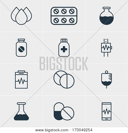 Vector Illustration Of 12 Medicine Icons. Editable Pack Of Vial, Heartbeat, Antibody And Other Elements.