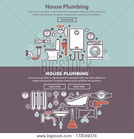 House plumbing colorful web poster with tubes and bath equipments collection. Vector web banner of symbols of necessary things in bathroom with water drops and some written information below.