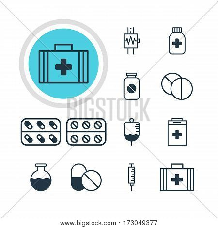 Vector Illustration Of 12 Health Icons. Editable Pack Of Aspirin, Exigency, Heartbeat And Other Elements.