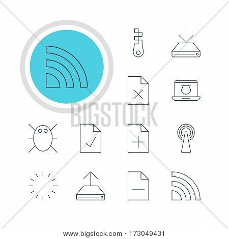 Vector Illustration Of 12 Internet Icons. Editable Pack Of Removing File, Secure Laptop, Hdd Sync And Other Elements.