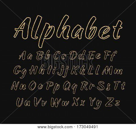 Vector handwritten alphabet. Uppercase and lowercase letters. Golden glitter effect isolated on black background. Outline letters