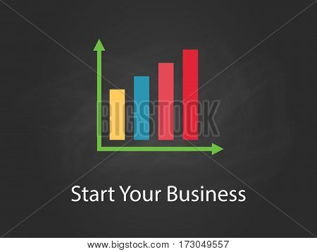 start your business chart illustration with colourful bar, white text and black background vector