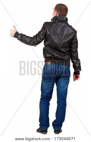 Back view of  man shows thumbs up.   Rear view people collection.  backside view of person.  Isolated over white background.