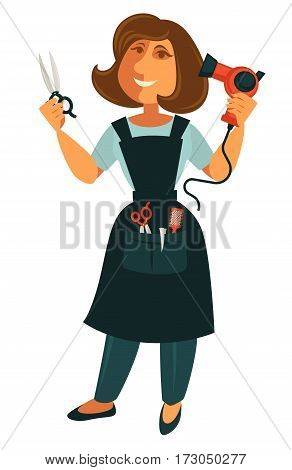 Female hairdresser with scissors and blow dryer isolated on white. Beautician coiffeuse in apron with accessories for making hair cut. Profession hairdresser character vector in cartoon style