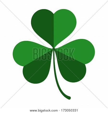 three leaf green clover leaf in shape of heart, an attribute to St. Patrick's day, abstract clover vector illustration isolated on white background