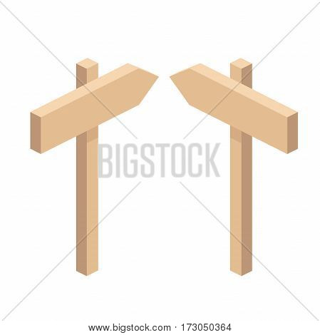 Wooden pointers and signs. Wooden plaques and pointers for information and advertising. wooden signpost vector illustration isolated on a white background