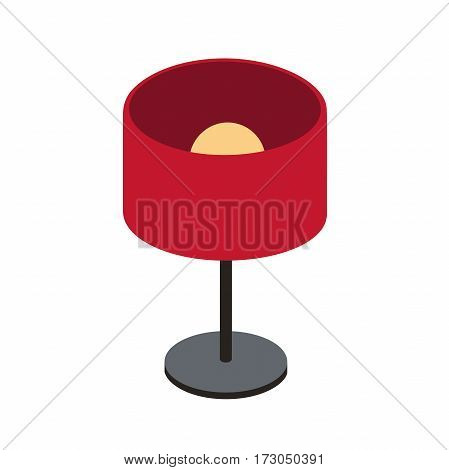 red table lamp on a short stalk for home, office. Isometric vector illustration with insulated layers on a white background