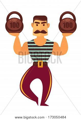 Powerlifter with mass isolated on white. Athletic man of muscle power with heavy weight. Strong man working in circus in striped sleeveless sports shirt and trousers vector illustration cartoon style