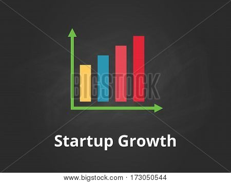 startup growth chart illustration with colourful bar, white text and black background vector