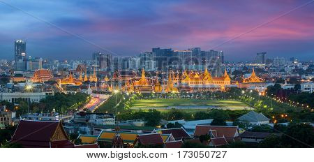 Bangkok city Wat prakeaw with city background the top of landmark in Thailand