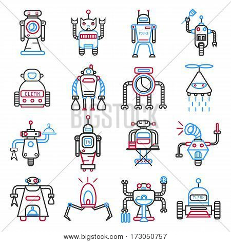 Android robots set isolated on white. Machines collection capable of carrying complex series of actions automatically. Industrial manipulating advanced devices. Vector illustration of modular robots
