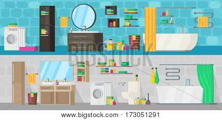 Bathroom equipment horizontal banners with furniture and hygiene tools for modern interior design project vector illustration