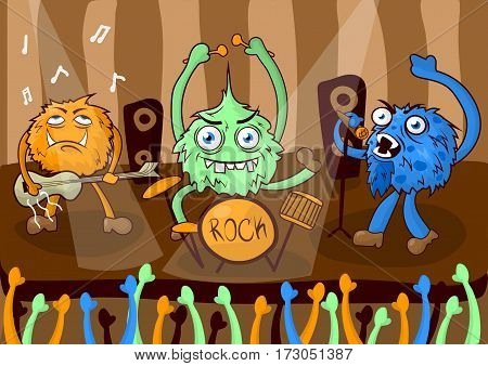 Rock concert music band on stage of cartoon monsters or dressed and disguised singers. Vector illustration
