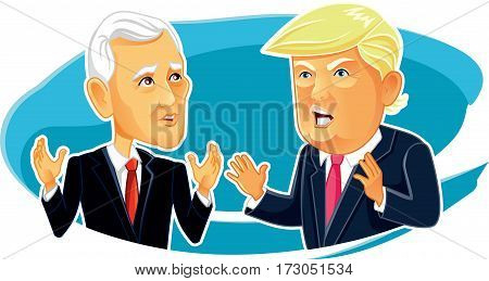 February 23, 2017 Mike Pence and Donald Trump Vector Caricature