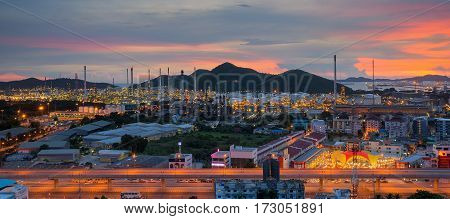 Lamchabang city oil refinery industry plant at twilight morning
