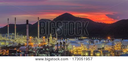 Landscape of oil refinery industry with oil storage tank Thai oil and gas refinery industrial area in Chonburi Thailand